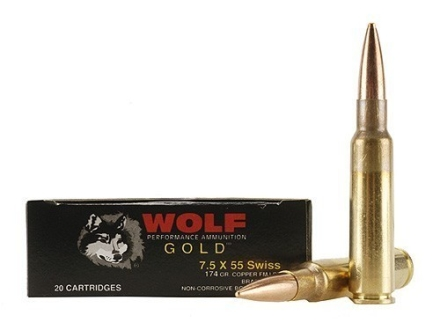 Wolf Gold Ammunition 7.5mm Schmidt-Rubin (7.5x55mm Swiss) 174 Grain Full Metal Jacket Box of 20