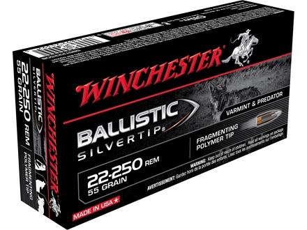 Winchester Supreme Ammunition 22-250 Remington 55 Grain Ballistic Silvertip