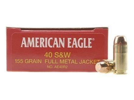 Federal American Eagle Ammunition 40 S&W 155 Grain Full Metal Jacket Box of 50