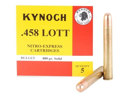 Kynoch Ammunition 458 Lott 480 Grain Woodleigh Weldcore Solid Box of 5