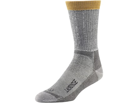 LaCrosse Men's Work Lightweight Crew Socks Merino Wool and Synthetic Blend Light Gray Large (9-12)
