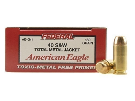 Federal American Eagle Ammunition 40 S&W 180 Grain Total Metal Jacket Box of 50