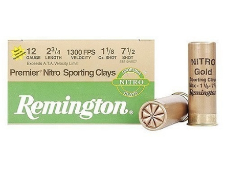 "Remington Premier Nitro Gold Sporting Clays Target Ammunition 12 Gauge 2-3/4"" 1-1/8 oz #7-1/2 Shot High Velocity"