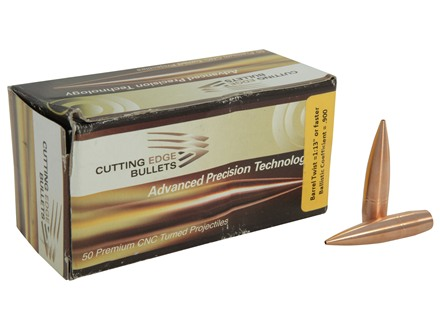 Cutting Edge Bullets Match Tactical Hunting Bullets 408 Caliber (408 Diameter) 390 Grain Low Drag Hollow Point Boat Tail Copper Lead-Free Box of 50