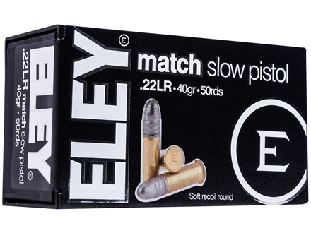 Eley Match Pistol Ammunition 22 Long Rifle 40 Grain Lead Round Nose Box of 50