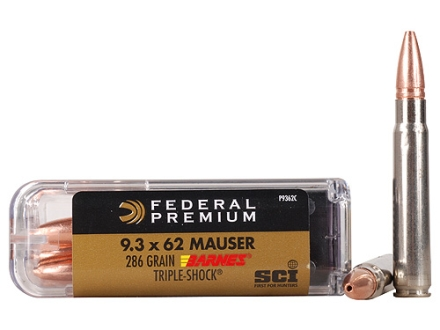 Federal Premium Cape-Shok Ammunition 9.3x62mm Mauser 286 Grain Barnes Triple-Shock X Bullet Box of 20