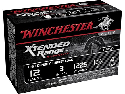 "Winchester Xtended Range Turkey Ammunition 12 Gauge 3"" 1-3/4 oz #4 Hi-Density Shot Box of 10"