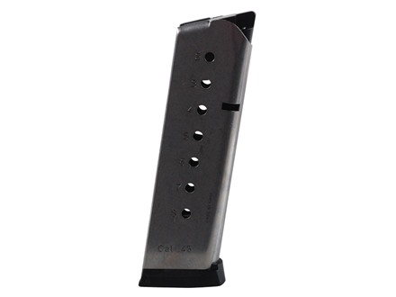Mec-Gar Magazine with Base Pad 1911 Government, Commander 45 ACP 8-Round Stainless Steel