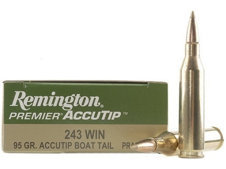 Remington Premier Ammunition 243 Winchester 95 Grain AccuTip Boat Tail Box of 20