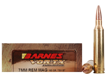 Barnes VOR-TX Ammunition 7mm Remington Magnum 160 Grain Triple-Shock X Bullet Boat Tail Lead-Free Box of 20