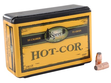 Speer Hot-Cor Bullets 25-20 WCF (257 Diameter) 75 Grain Jacketed Flat Nose Box of 100