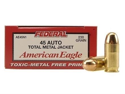 Federal American Eagle Ammunition 45 ACP 230 Grain Total Metal Jacket Box of 50