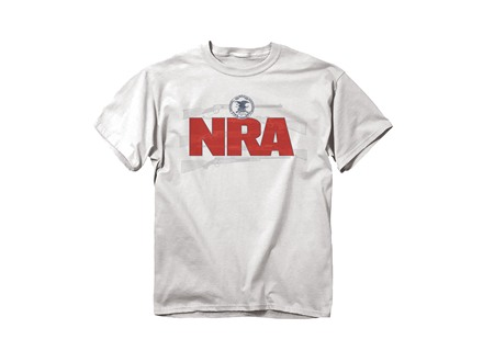 NRA Men's Guns Logo T-Shirt Short Sleeve Cotton White Medium