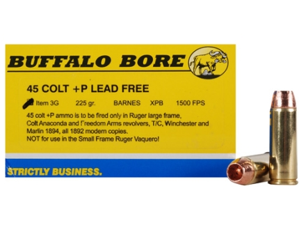 Buffalo Bore Ammunition 45 Colt (Long Colt) +P 225 Grain Barnes XPB Solid Copper Hollow Point Lead-Free Box of 20