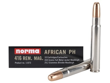 Norma African PH Ammunition 416 Remington Magnum 450 Grain Woodleigh Full Metal Jacket Box of 10