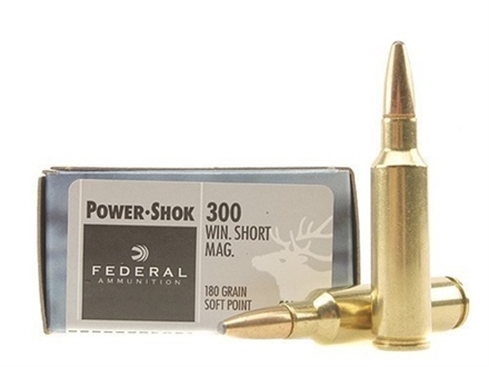 Federal Power-Shok Ammunition 300 Winchester Short Magnum (WSM) 180 Grain Soft Point Box of 20