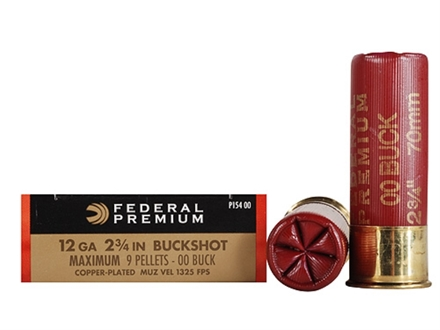 "Federal Premium Vital-Shok Ammunition 12 Gauge 2-3/4"" Buffered 00 Copper Plated Buckshot 9 Pellets Box of 5"