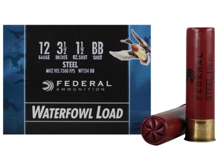 "Federal Speed-Shok Waterfowl Ammunition 12 Gauge 3-1/2"" 1-1/2 oz BB Non-Toxic Steel Shot"