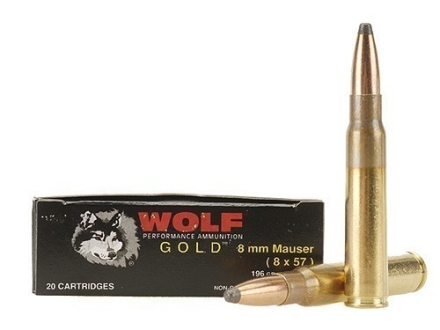 Wolf Gold Ammunition 8x57mm Mauser (8mm Mauser) 196 Grain Soft Point Box of 20