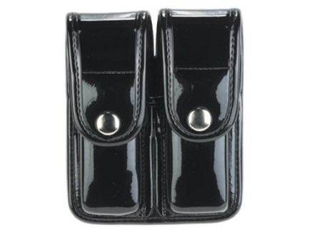 Bianchi 7902 AccuMold Elite Double Magazine Pouch Single Stack 9mm, 45 ACP Chrome Snap Basketweave Trilaminate Black
