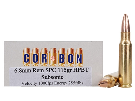 Cor-Bon Performance Match Ammunition 6.8mm Remington SPC 115 Grain Hollow Point Boat Tail Subsonic Box of 20