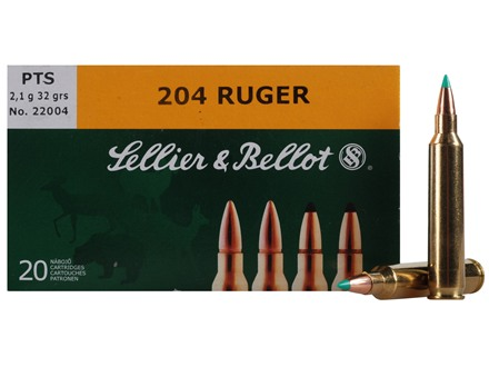 Sellier & Bellot Ammunition 204 Ruger 32 Grain Polymer Tip Spitzer Box of 20