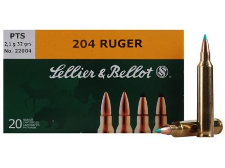 Sellier & Bellot Ammunition 204 Ruger 32 Grain Polymer Tip Spitzer Box of 20