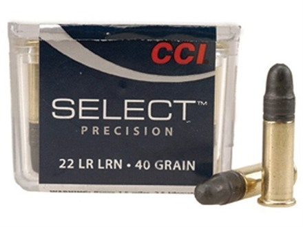 CCI Select Precision Ammunition 22 Long Rifle 40 Grain Lead Round Nose Box of 500 (5 Boxes of 100)