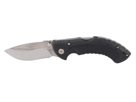 "Buck 395 Omni Hunter 10PT Folding Knife 3"" Drop Point 420HC Stainless Steel Blade Dynaflex Rubber Handle Black"