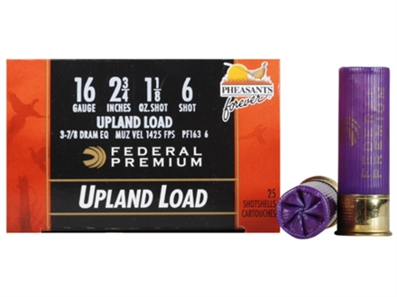 "Federal Premium Wing-Shok Ammunition 16 Gauge 2-3/4"" 1-1/8 oz Buffered #6 Copper Plated Shot Box of 25"