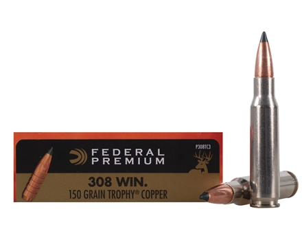 Federal Premium Vital-Shok Ammunition 308 Winchester 150 Grain Trophy Copper Tipped Boat Tail Lead-Free Box of 20
