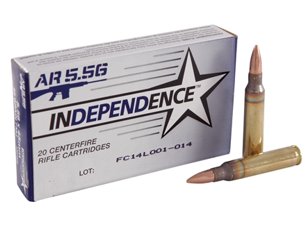 Independence Ammunition 5.56x45mm NATO 55 Grain M193 Full Metal Jacket Boat Tail Case of 500 (25 Boxes of 20)