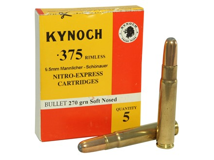 Kynoch Ammunition 9.5x57mm Mannlicher-Schoenauer 270 Grain Woodleigh Weldcore Soft Point Box of 5