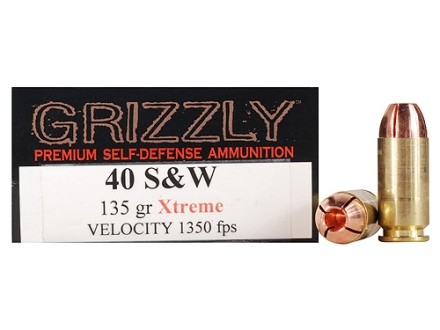 Grizzly Self-Defense Ammunition 40 S&W 135 Grain Xtreme Copper Hollow Point Lead-Free Box of 20