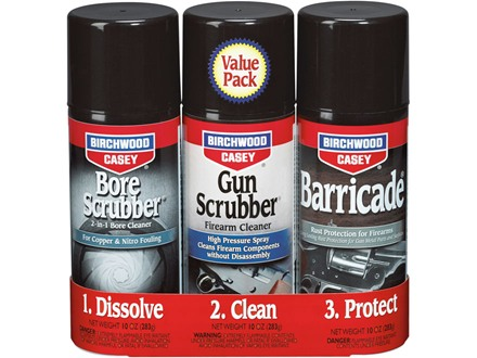 Birchwood Casey 1-2-3 Aerosol Value Pack (Gun Scrubber, Bore Scrubber and Barricade)