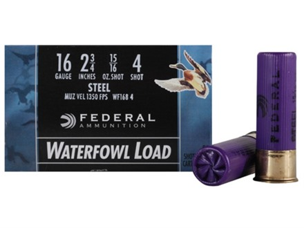 "Federal Speed-Shok Waterfowl Ammunition 16 Gauge 2-3/4"" 15/16 oz #4 Non-Toxic Steel Shot"