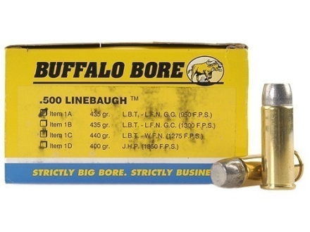 Buffalo Bore Ammunition 500 Linebaugh 435 Grain Lead Long Flat Nose Box of 50