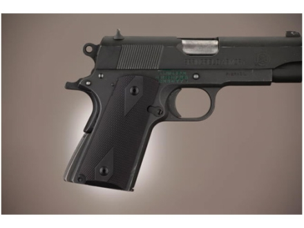 Hogue Extreme Series Grip 1911 Officer Checkered Aluminum Matte Black