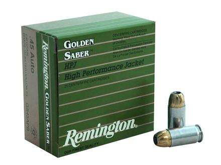 Remington Golden Saber Ammunition 45 ACP 230 Grain Brass Jacketed Hollow Point Box of 25