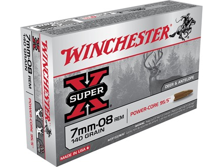 Winchester Super-X Power-Core 95/5 Ammunition 7mm-08 Remington 140 Grain Hollow Point Boat Tail Lead-Free Box of 20