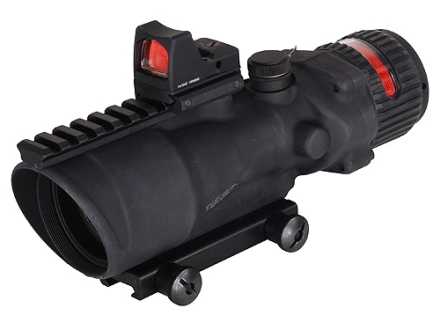 Trijicon ACOG TA648-RMR BAC Rifle Scope 6x 48mm Dual-Illuminated Red Chevron 308 Winchester Reticle with 6.5 MOA RMR Red Dot Sight and TA75 Flattop Mount Matte