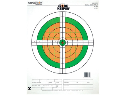 "Champion Score Keeper 100 Yard Small Bore Target 14"" x 18"" Paper Fluorescent Orange/Green Bull Package of 12"
