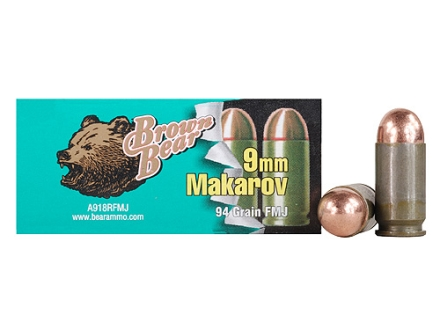 Brown Bear Ammunition 9x18mm (9mm Makarov) 94 Grain Full Metal Jacket (Bi-Metal) Box of 50