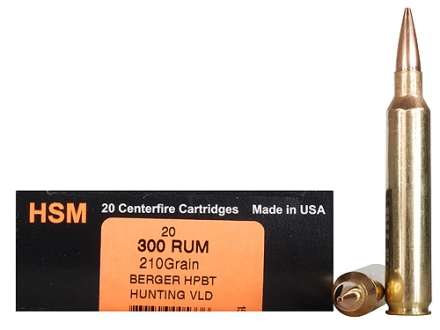 HSM Trophy Gold Ammunition 300 Remington Ultra Magnum 210 Grain Berger Hunting VLD Hollow Point Boat Tail Box of 20