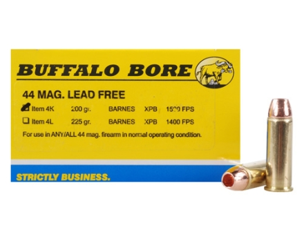 Buffalo Bore Ammunition 44 Remington Magnum 200 Grain Barnes XPB Solid Copper Hollow Point Lead-Free Box of 20