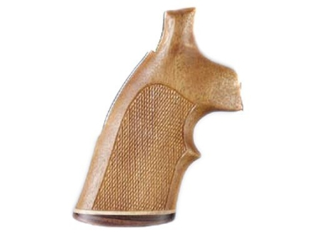 Hogue Fancy Hardwood Conversion Grips with Accent Stripe and Top Finger Groove S&W N-Frame Round to Square Butt Checkered