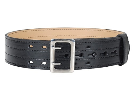 "Gould & Goodrich B49FL4R E-Z Slide Four Stitch Duty Belt 2-1/4""  Nickel Plated Brass Buckle Leather Black 30"""