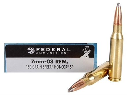 Federal Power-Shok Ammunition 7mm-08 Remington 150 Grain Speer Hot-Cor Soft Point Box of 20
