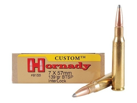 Hornady Custom Ammunition 7x57mm Mauser (7mm Mauser) 139 Grain InterLock Spire Point Boat Tail Box of 20