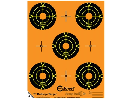 "Caldwell Orange Peel Target 2"" Self-Adhesive Bullseye (5 Bulls Per Sheet) Package of 10"
